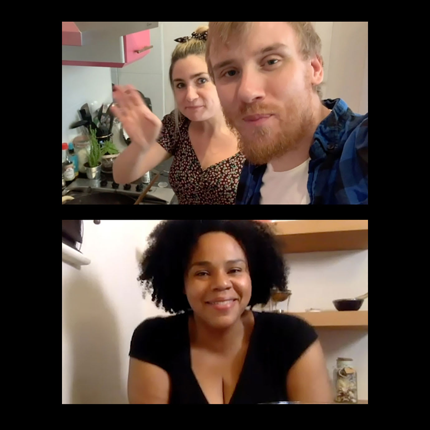 Three people on a video call.
