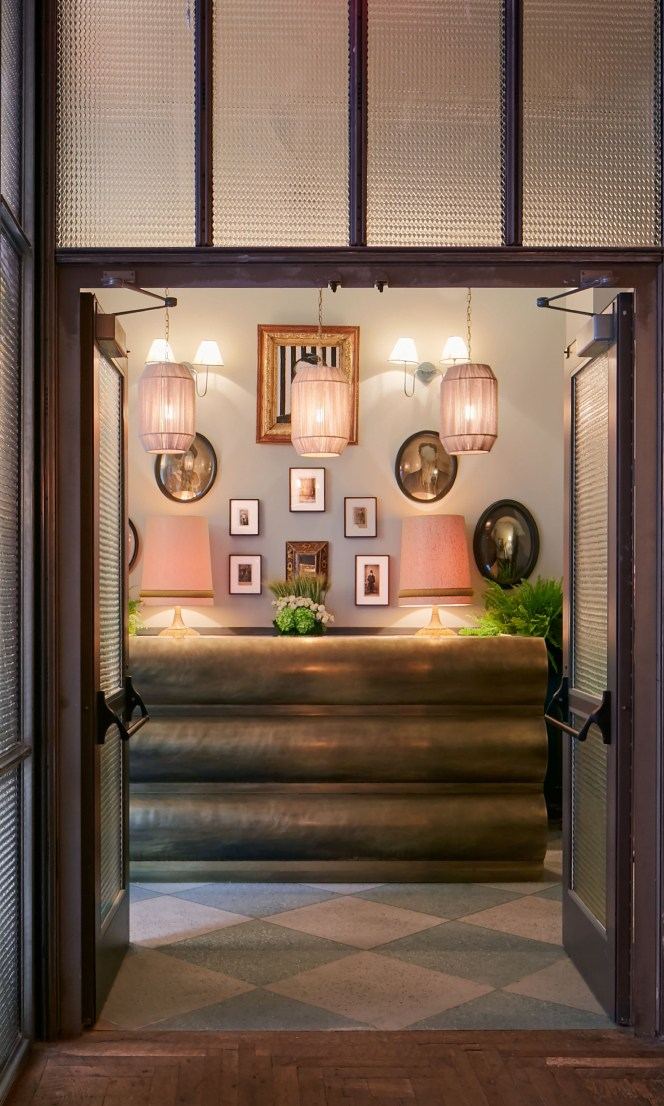 An entry way leading to a reception area.