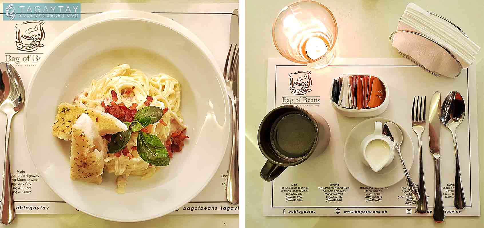 Carbonara and Barako Coffee (Bottomless) at Bag of Beans - Athena Branch