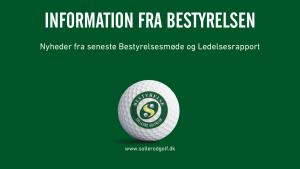 Information fra Bestyrelsen september 2021