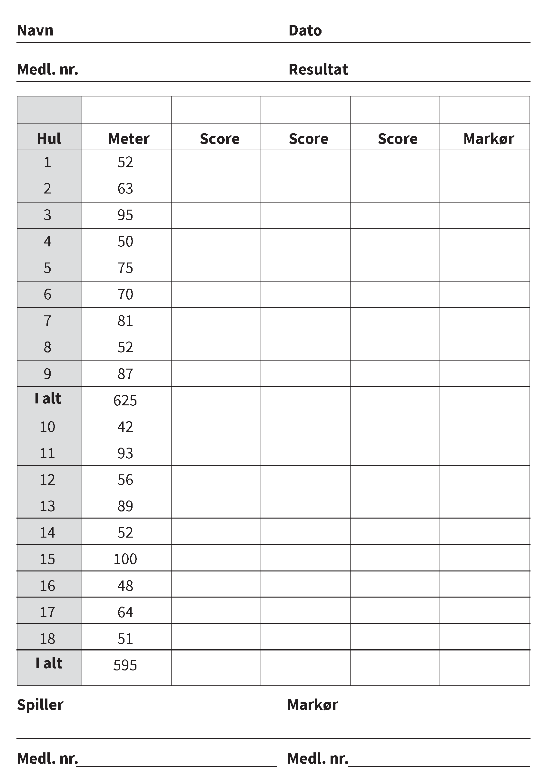 Scorekort