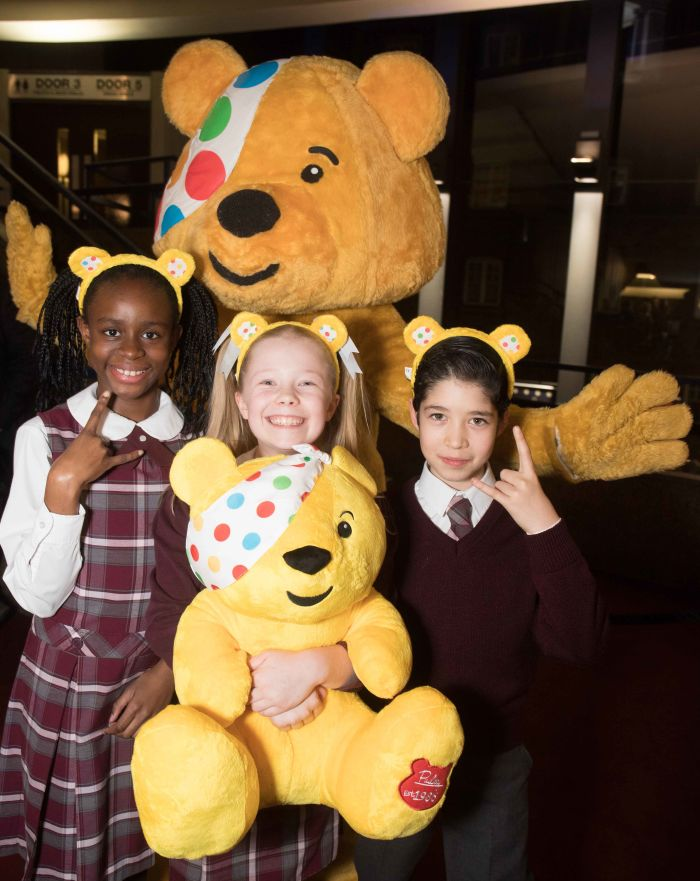 The kids cast and Pudsey at School Of Rock - The Musical's BBC Radio 2 Children in Need Gala (Photo: Paul Hampartsoumian)