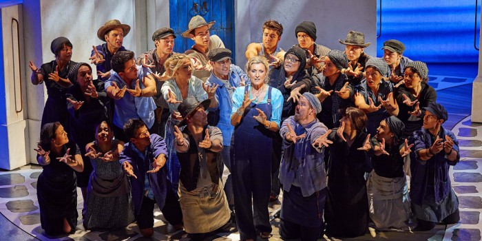 Sara Poyzer plays Donna in Mamma Mia! at the Novello Theatre