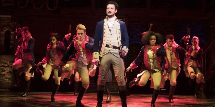 Jamael Westman (Alexander Hamilton) and the West End cast of Hamilton (Photo: Matthew Murphy)