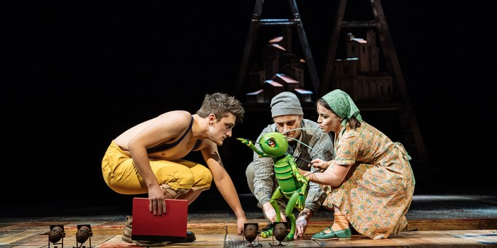 Joe Idris-Roberts, James Charlton and Audrey Brisson in Pinocchio at the National Theatre (Photo: Manuel Harlan)