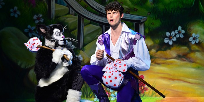 Lukus Alexander (Eileen The Cat) and Charlie Stemp (Dick Whittington) in Dick Whittington at London Palladium (Photo: Paul Coltas)