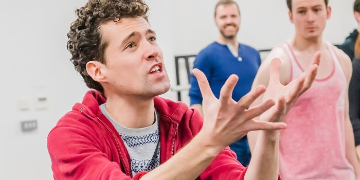 Liam Forde (Eugene) in Eugenius! rehearsals (Photo: Nick Dudley)