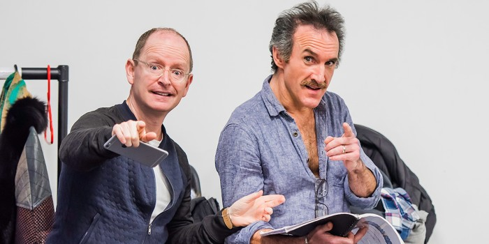 Ian Hughes (Evil Lord Hector) and Cameron Blakely (Lex) in Eugenius! rehearsals (Photo: Nick Dudley)