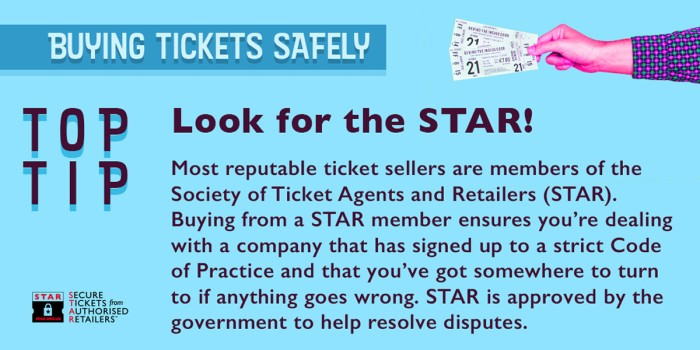 STAR's advice on ticket buying   Official London Theatre