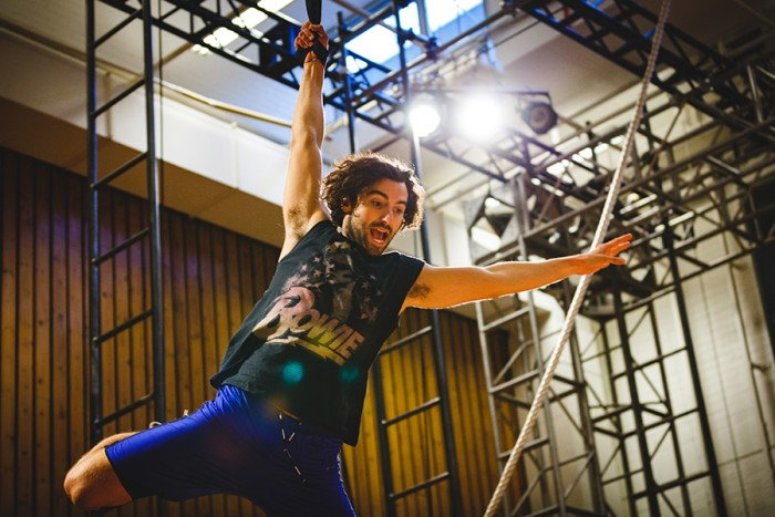 Marc Antolin (John) rehearses flying for Peter Pan at National Theatre (Photo: Steve Tanner)