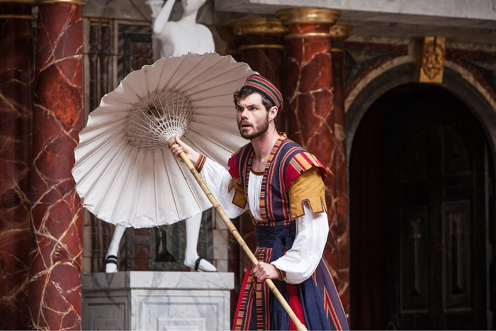 Matthew Needham in The Comedy Of Errors at Shakespeare's Globe (Photo: Marc Brenner)