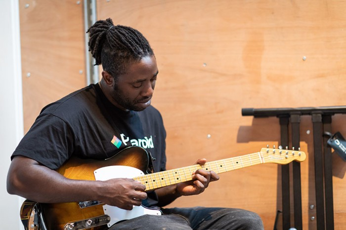 Kele Okereke (songs and music) in rehearsals for Leave to Remain at the Lyric Hammersmith. Photo by Helen Maybanks