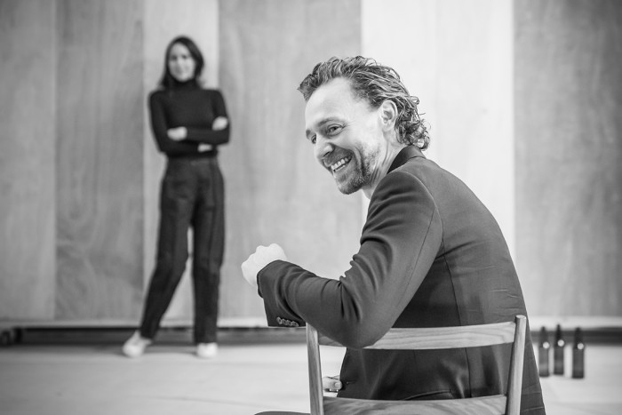 Zawe Ashton and Tom Hiddleston in rehearsal for 'Betrayal'. Photo credit Marc Brenner