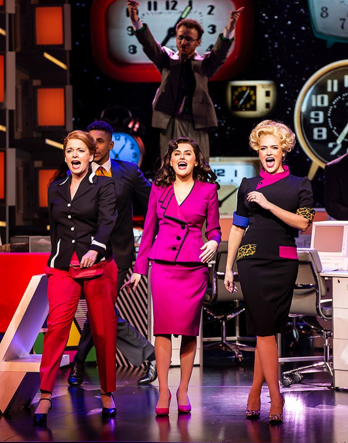 Caroline Sheen (Violet Newstead), Amber Davies (Judy Bernly) and Natalie McQueen (Doralee Rhodes) in 9 To 5 The Musical (Photo: Pamela Raith)