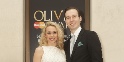 A Chorus Line's Rebecca Herszenhorn and Ed Currie outside the May Fair Hotel
