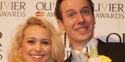 A Chorus Line's Rebecca Herszenhorn and Ed Currie with their Chorus Line Coladas at the Nominations Announcement for the Olivier Awards 2013 with MasterCard