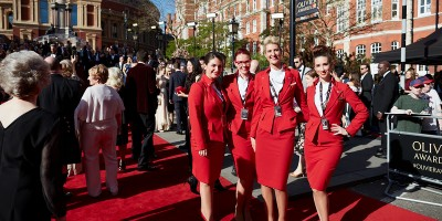Virgin Atlantic on the Olivier Awards 2017 with Mastercard red carpet (Photo: David Levene)