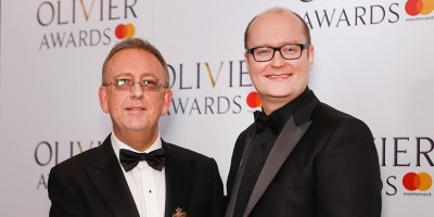 Nick Thomas and Michael Harrison, winner of the Best Entertainment and Family award for Dick Whittington at the Olivier Awards 2018 with Mastercard
