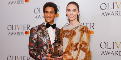 Marcelino Sambe and Kristen McNally, winner of the Best New Dance Production award for Flight Pattern at the Olivier Awards 2018 with Mastercard
