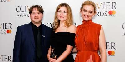 Gary Owen, Rachel O'Riordan and Anne-Marie Duff, winner of the Outstanding Achievement in Affiliate Theatre award for Killology at the Olivier Awards 2018 with Mastercard