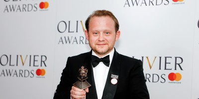 Michael Jibson, winner of the Best Actor in a Supporting Role in a Musical award for Hamilton at the Olivier Awards 2018 with Mastercard