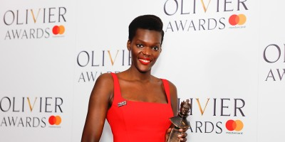 Sheila Atim, winner of the Best Actress in a Supporting Role in a Musical award for Girl From The North Country at the Olivier Awards 2018 with Mastercard