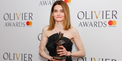 Shirley Henderson, winner of the Best Actress in a Musical award for Girl From The North Country at the Olivier Awards 2018 with Mastercard