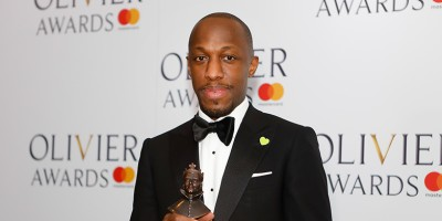 Giles Terera, winner of the Best Actor in a Musical award for Hamilton at the Olivier Awards 2018 with Mastercard