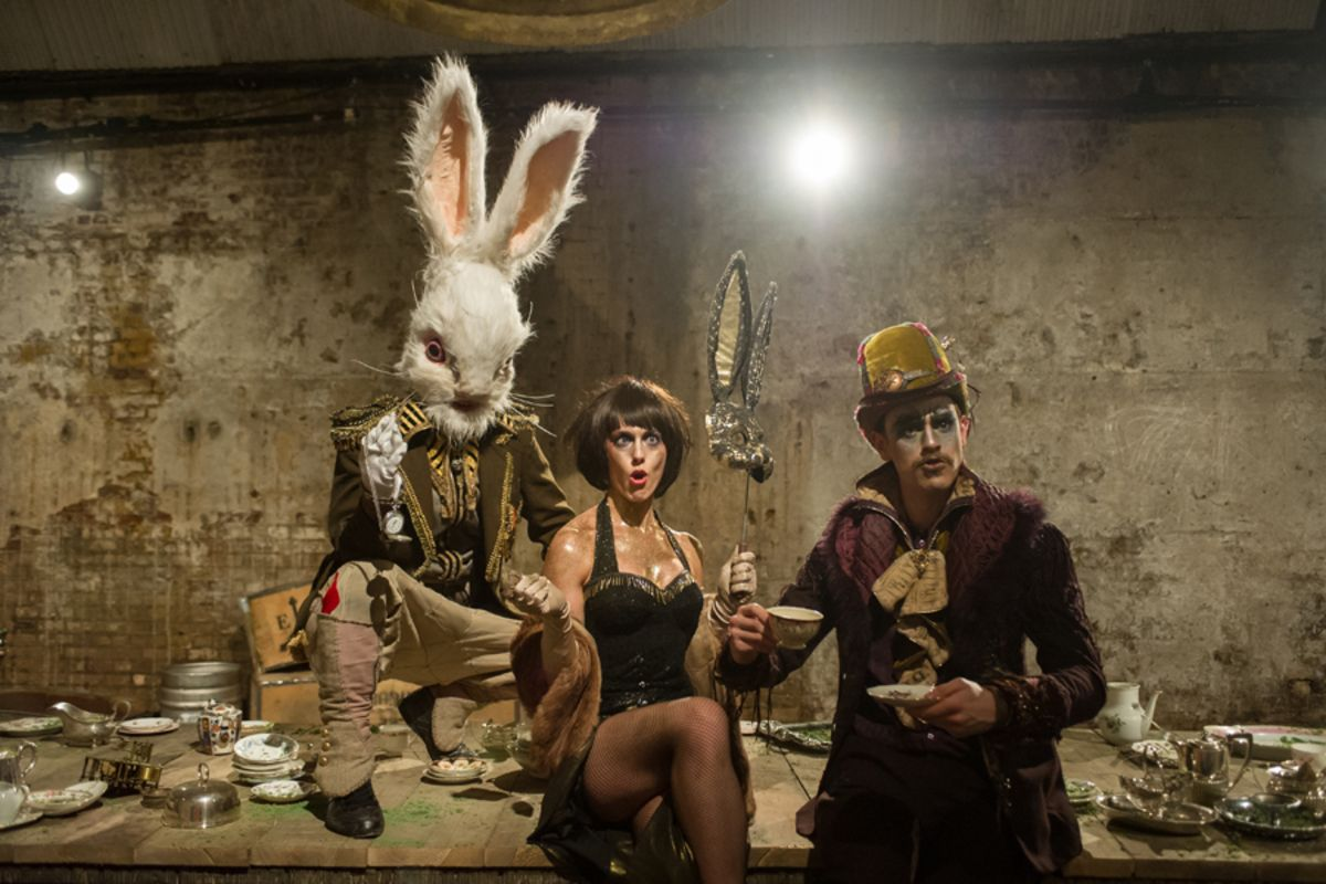 Mark Stevenson (Rabbit) Grace Carter (Hare) and Hayden Wood (Hatter) in Alice's Adventures Underground (Photo by Jane Hobson)