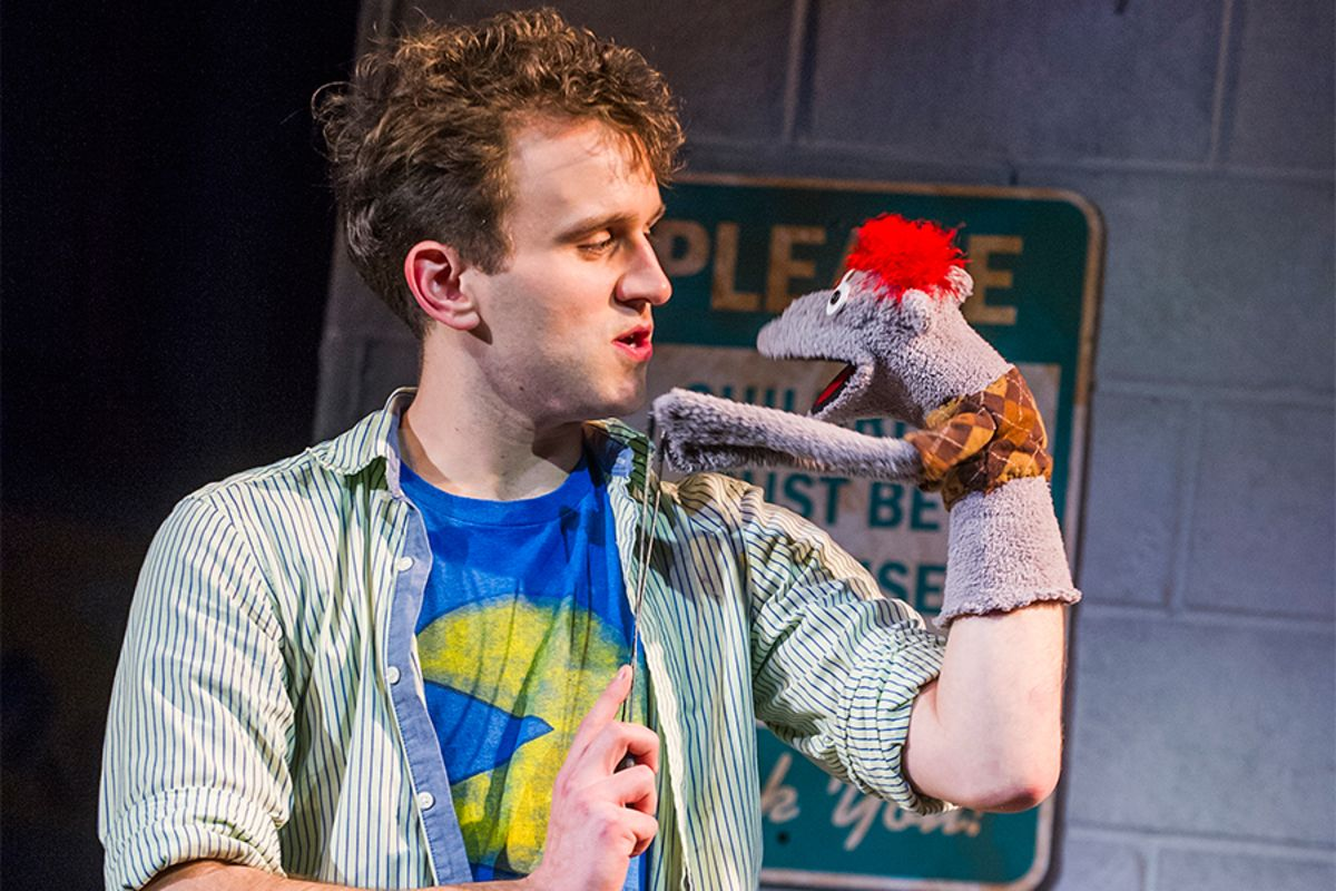 Harry Melling and Tyrone in Hand To God at the Vaudeville Theatre