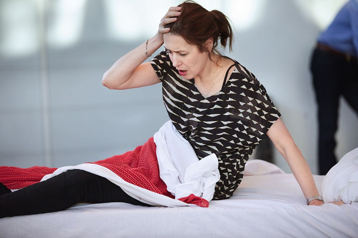 Gina McKee in rehearsals for The Mother (Photo: Mark Douet)