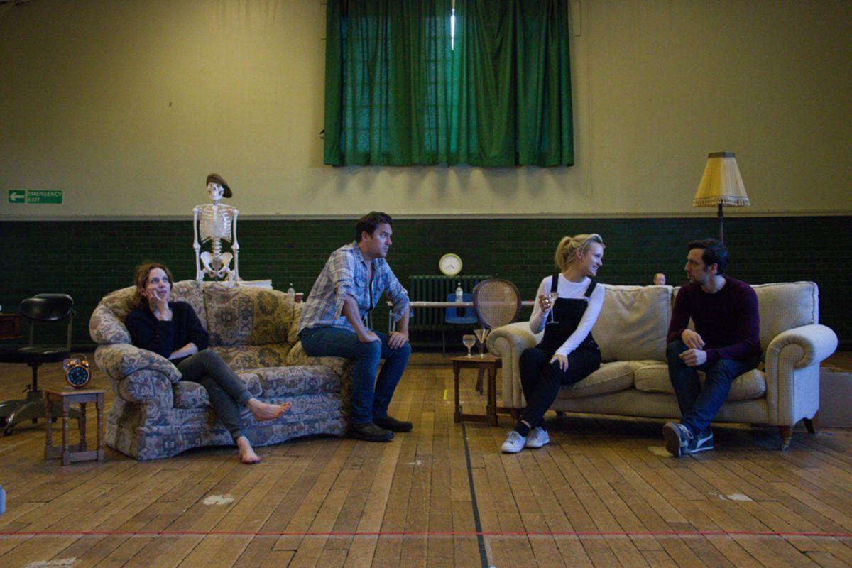 Katherine Parkinson, Rufus Jones, Emily Berrington and Ralf Little in Dead Funny (Photo: Grace Wordsworth)