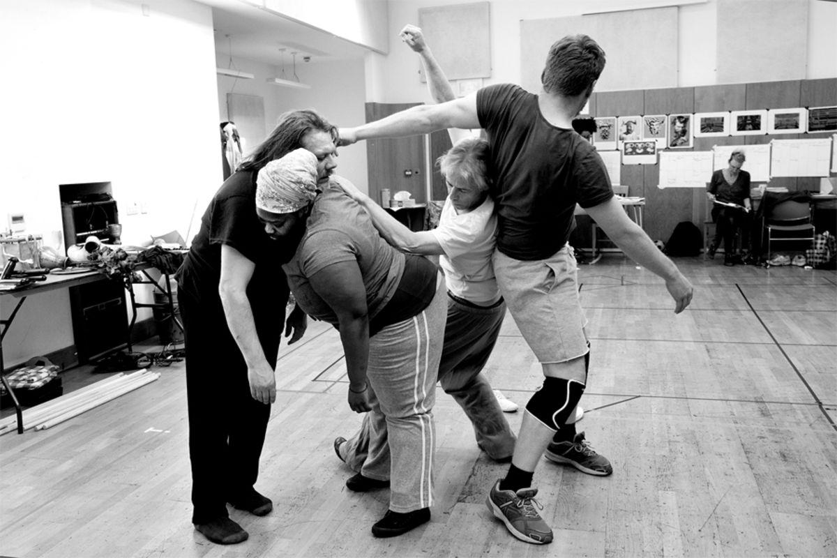 Phil Snowden, Natasha Magigi, Andrew Bridgmont and Paul Bullion in rehearsal for Comus (Photo: Lucy Bailey)