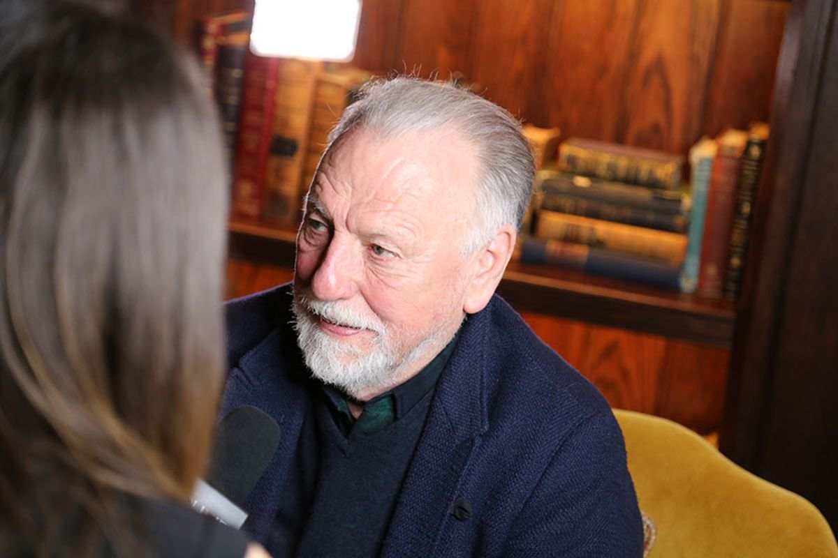 Best Actor nominee Kenneth Cranham being interviewed at the Olivier Awards 2016 with MasterCard nominees' celebration