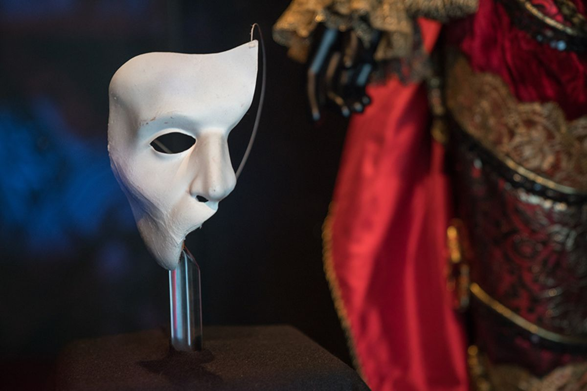 The phantom mask worn by Michael Crawford in the original London production in 1986, kindly loaned by Michael and his family (copyright Jonathan Blanc & New York Public Library)