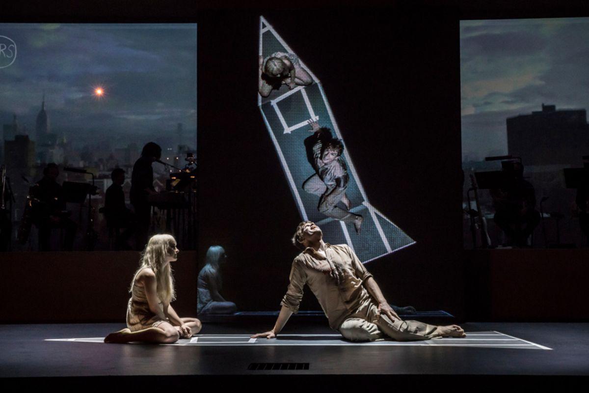 Michael C Hall (Newton), Sophia Anne Caruso (Girl) in Lazarus (Photo: Johan Persson)