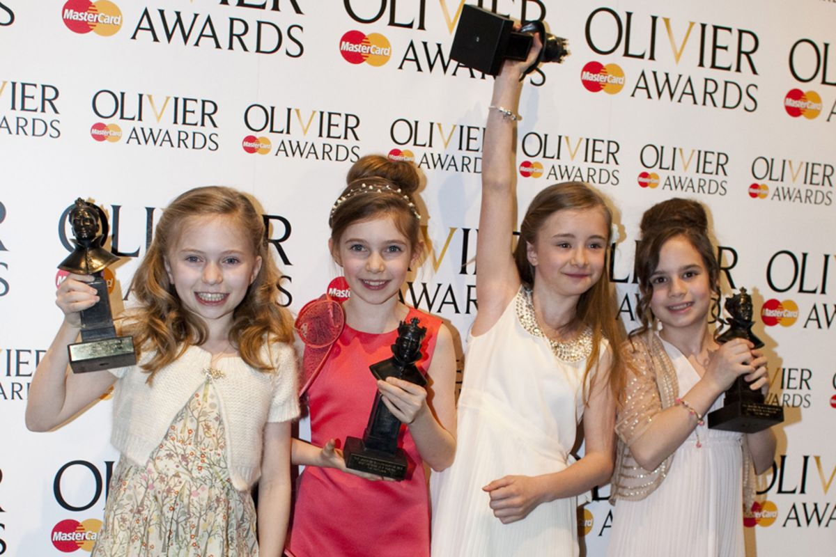 The Matildas celebrate winning Best Actress in a Musical at the 2012 Olivier Awards with MasterCard
