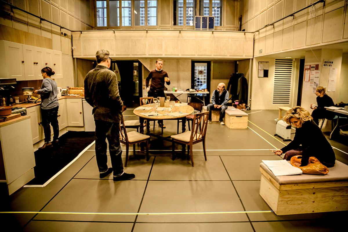 The company in rehearsal for Limehouse at the Donmar Warehouse (Photo: Jack Sain)