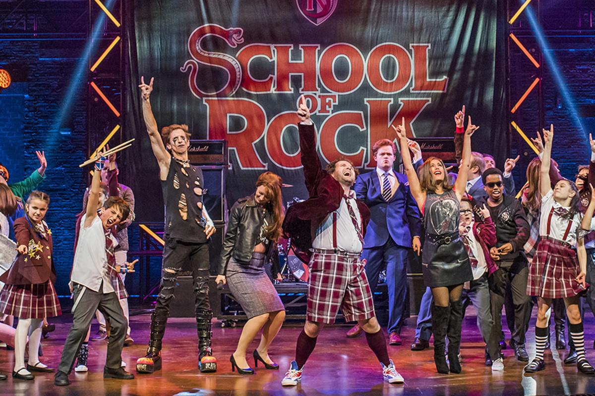 The cast of School Of Rock with Gary Trainor as Dewey Finn (Photo: Tristram Kenton)