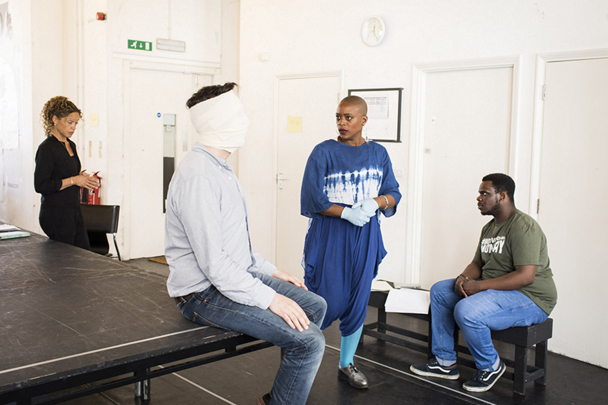Cast in rehearsals for Buckland Theatre Company's The Ugly One at Park90 (Photo: Helen Maybanks)