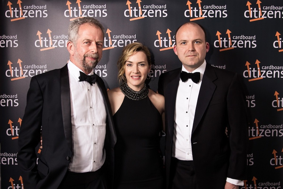 Adrian Jackson, Kate Winslet and Rory Kinnear at the 25th Anniversary Cardboard Citizens Fundraising Dinner (Photo: The Other Richard)