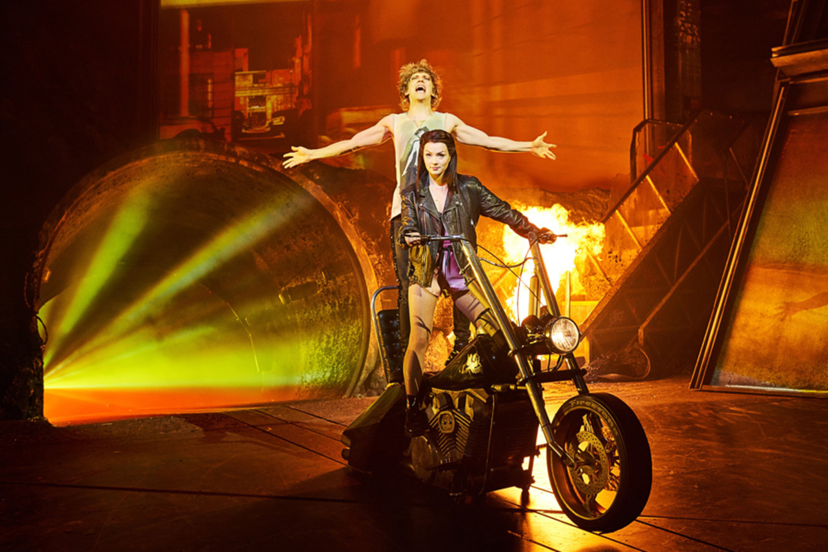 Andrew Polec (Strat) and Christina Bennington (Raven) in Bat Out Of Hell The Musical (Photo: Specular)
