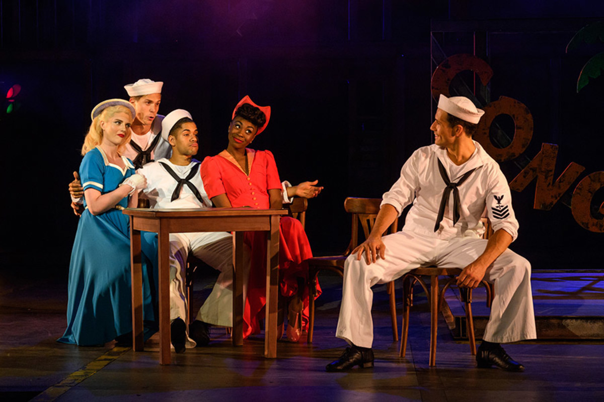 Lizzy Connolly, Samuel Edwards, Jacob Maynard, Miriam-Teak Lee and Danny Mac as Hildy, Ozzie, Chip, Claire and Gabey in On The Town (Photo: Jane Hobson)
