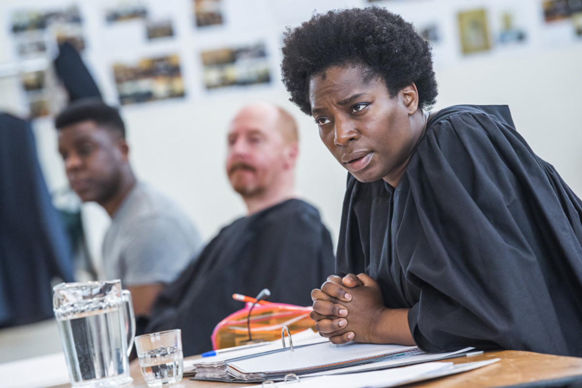 Ashley Zhangazha, Forbes Masson and Tanya Moodie in rehearsal for Terror at Lyric Hammersmith (Photo: Tristram Kenton)
