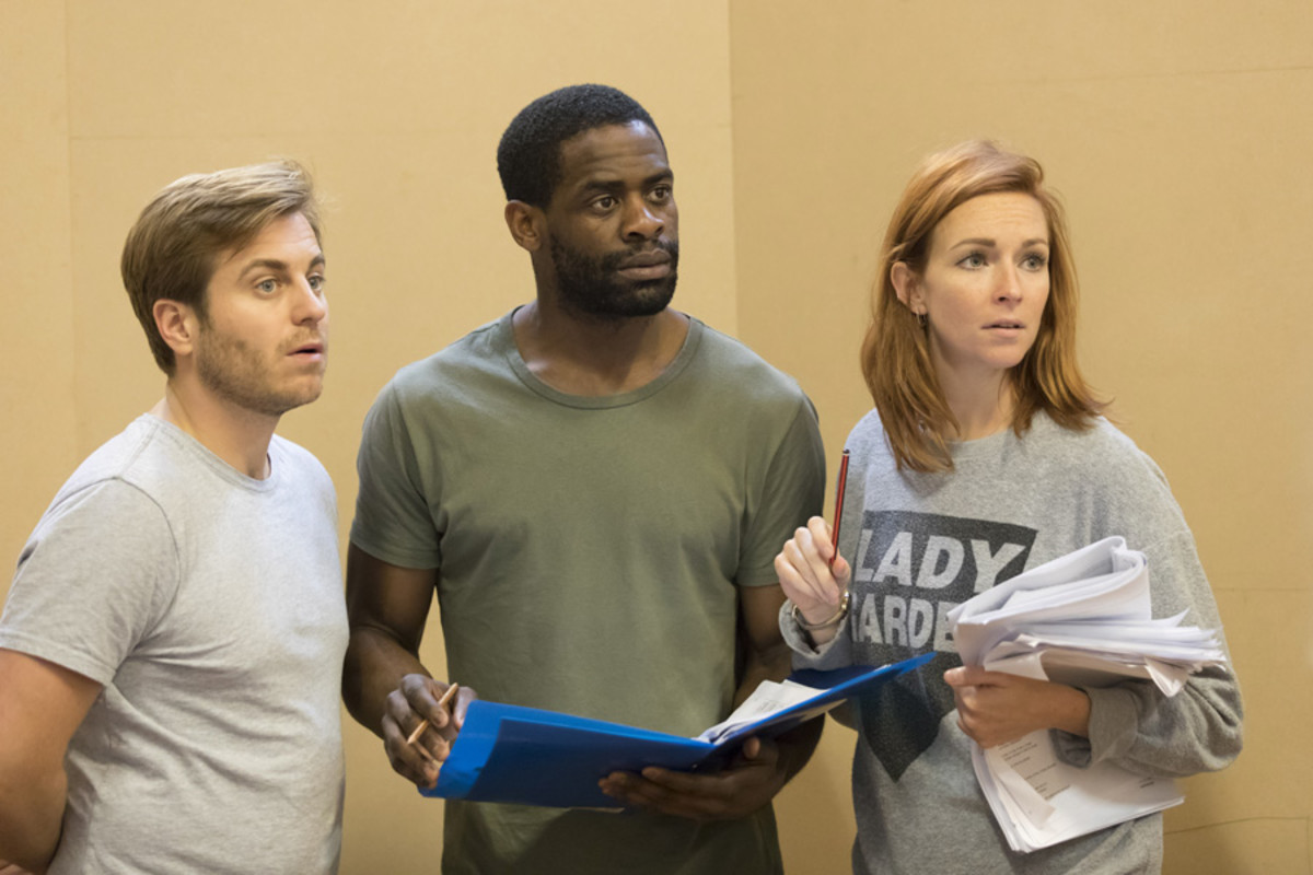 Kevin Bishop, Okorie Chukwu and Amy Griffiths in rehearsal for the Young Vic's production of Once in a Lifetime. Photograph taken at the Copperfield Rehearsal Rooms SE1 © Johan Persson