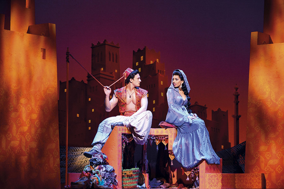 Dean John-Wilson and Jade Ewen in Disney's Aladdin, playing at the Prince Edward Theatre (Photo: Deen van Meer)