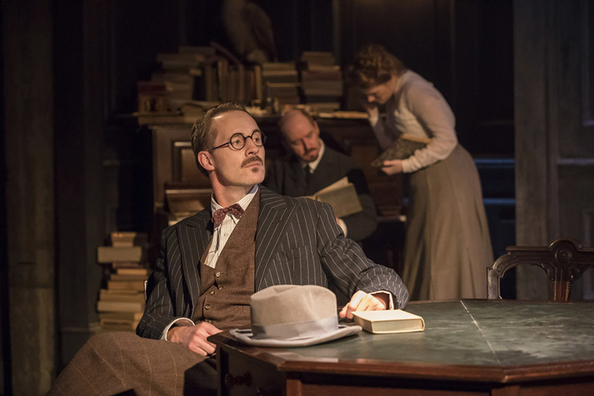 Peter McDonald, Forbes Masson and Clare Foster in Travesties at the Menier Chocolate Factory (Photo: Johan Persson)