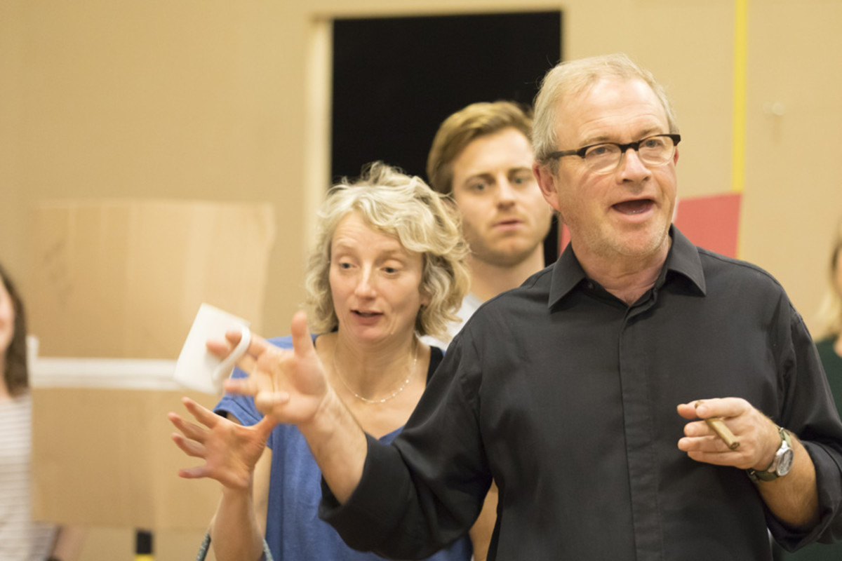 Amanda Lawrence, Kevin Bishop and Harry Enfield in rehearsal for the Young Vic's production of Once in a Lifetime. Photograph taken at the Copperfield Rehearsal Rooms SE1 © Johan Persson