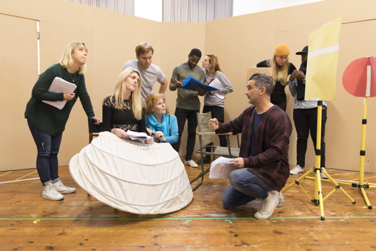 Company members in rehearsal for the Young Vic's production of Once in a Lifetime. Photograph taken at the Copperfield Rehearsal Rooms SE1 © Johan Persson