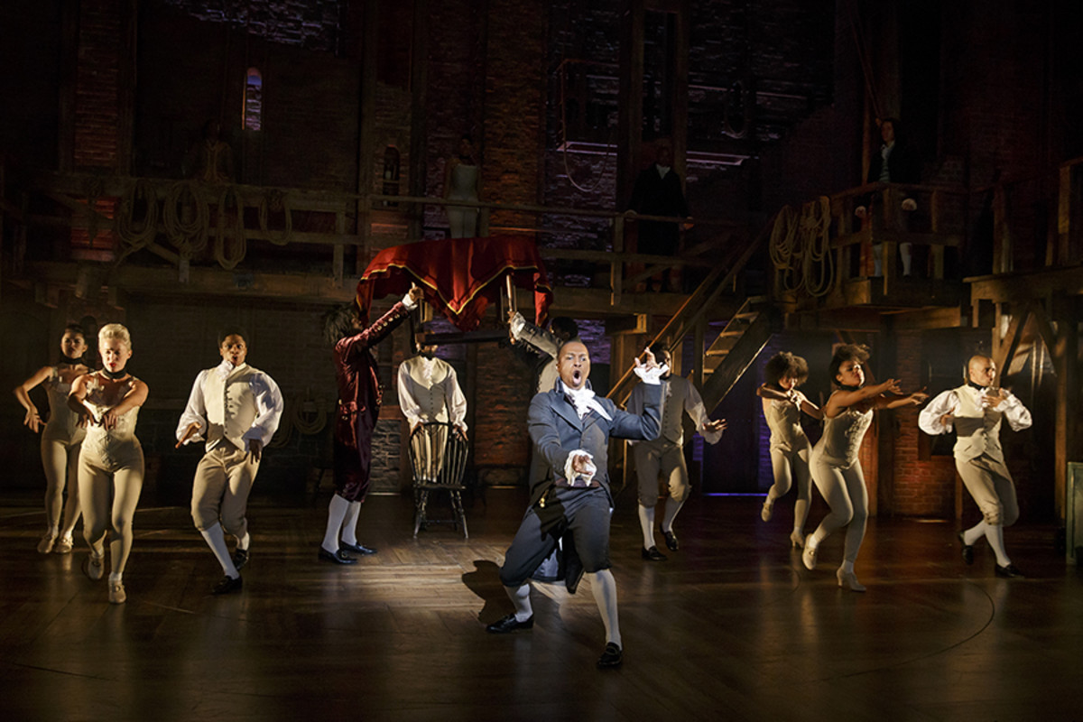 Leslie Odom, Jr. as Aaron Burr with the cast of Hamilton